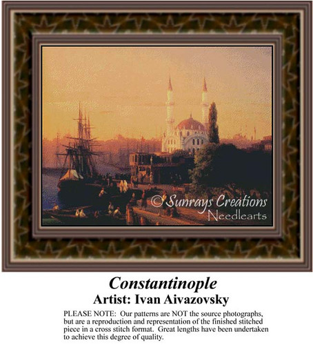 Constantinople, Fine Art Counted Cross Stitch Pattern, Urban Counted Cross Stitch Pattern