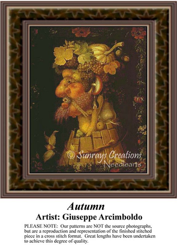 Autumn, Fine Art Counted Cross Stitch Pattern, Fall Counted Cross Stitch Pattern