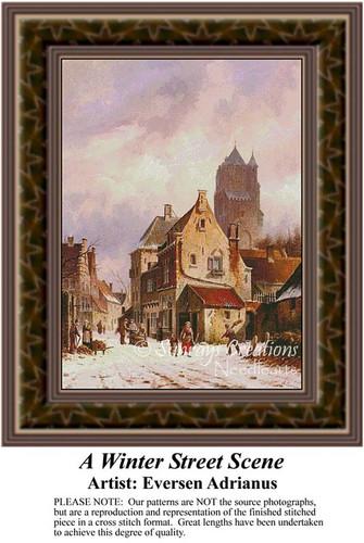 A Winter Street Scene, Urban Counted Cross Stitch Pattern, Fine Art Counted Cross Stitch Pattern