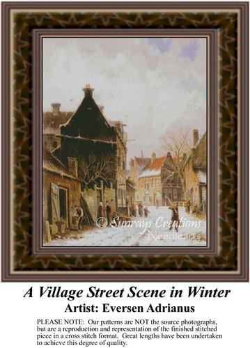 A Village Street Scene in Winter, Fine Art Counted Cross Stitch Pattern, Winter Counted Cross Stitch Pattern, Urban Cross Stitch Patterns
