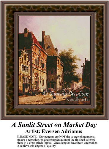 A Sunlit Street on Market Day, Urban Counted Cross Stitch Patterns, Fine Art Counted Cross Stitch Pattern