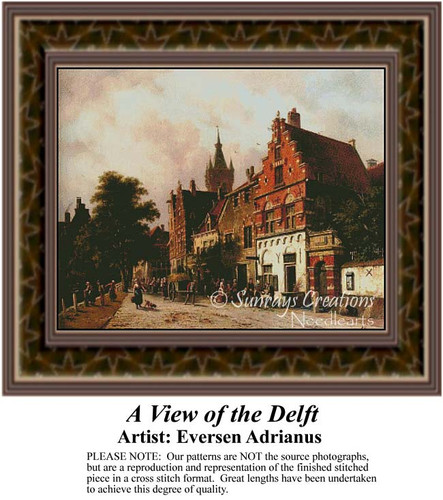 A View of the Delft, Urban Counted Cross Stitch Pattern, Fine Art Counted Cross Stitch Pattern
