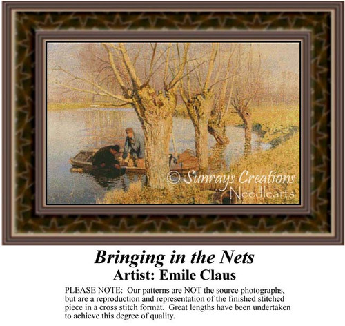 Bringing in the Nets, Waterscapes Counted Cross Stitch Pattern, Fine Art Counted Cross Stitch Pattern
