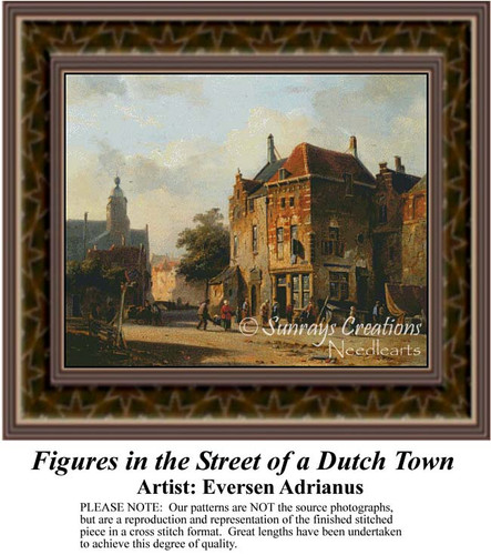 Figures in the Street of a Dutch Town, Fine Art Counted Cross Stitch Pattern, Urban Cross Stitch Patterns