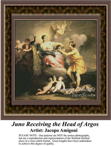 Juno Receiving the Head of Argos, Fine Art Counted Cross Stitch Pattern