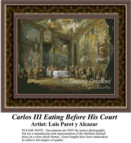 Carlos III Eating Before His Court, Fine Art Counted Cross Stitch Pattern, Social Counted Cross Stitch Pattern