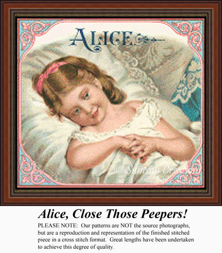 Alice, Close Those Peepers, Vintage Counted Cross Stitch Pattern