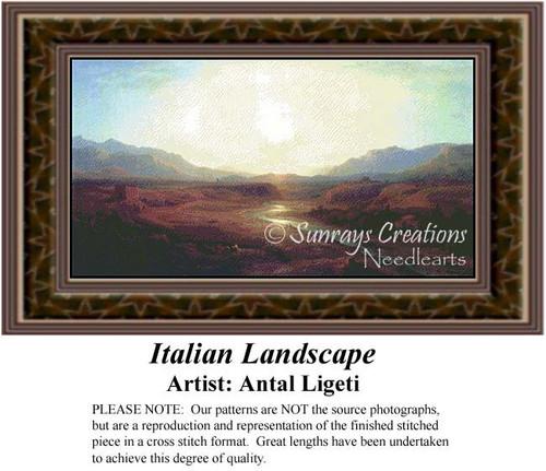 Italian Landscape, Alluring Landscape Counted Cross Stitch Pattern, Fine Art Counted Cross Stitch Pattern