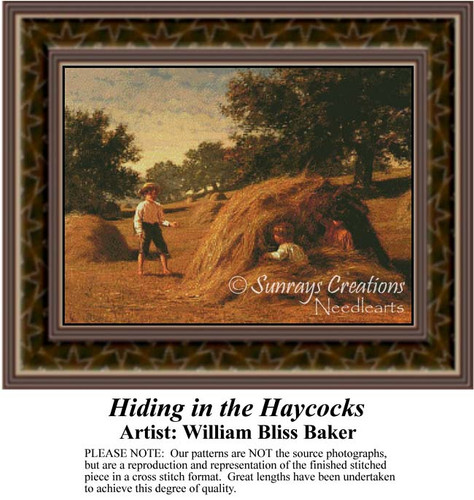 Hiding in the Haycocks, Fine Art Counted Cross Stitch Pattern, Children Counted Cross Stitch Pattern