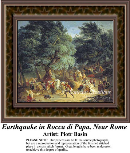 Earthquake in Rocca di Papa, Near Rome, Fine Art Counted Cross Stitch Pattern, Alluring Landscapes Counted Cross Stitch Pattern