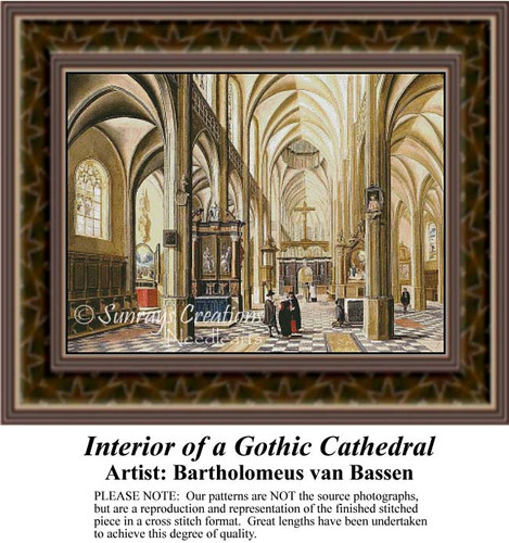 Interior of a Gothic Cathedral, Interiors Counted Cross Stitch Pattern, Fine Art Counted Cross Stitch Pattern