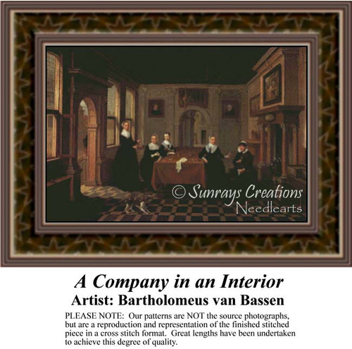 A Company in an Interior, Interiors Counted Cross Stitch Pattern, Fine Art Counted Cross Stitch Pattern
