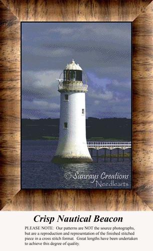 Crisp Nautical Beacon, Lighthouse Counted Cross Stitch Pattern