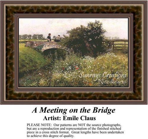 A Meeting on the Bridge, Fine Art Counted Cross Stitch Pattern, Alluring Landscapes Counted Cross Stitch Pattern