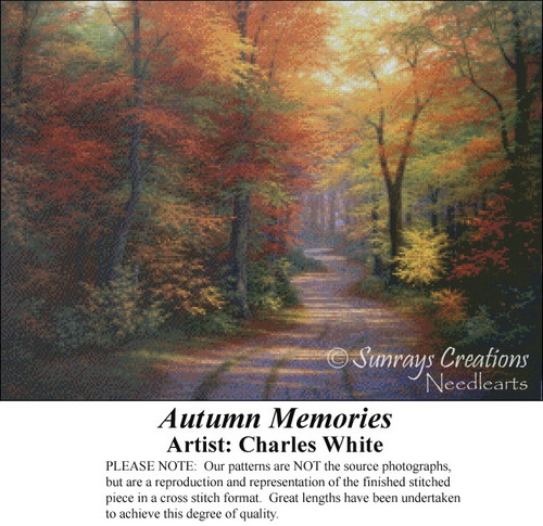 Autumn Memories, Charles White Counted Cross Stitch Pattern, Fall Counted Cross Stitch Pattern
