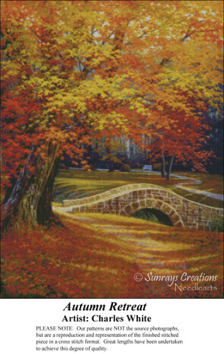 Autumn Retreat, Charles White Counted Cross Stitch Pattern, Fall Counted Cross Stitch Pattern