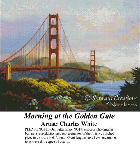 Morning at the Golden Gate, Charles White Counted Cross Stitch Pattern