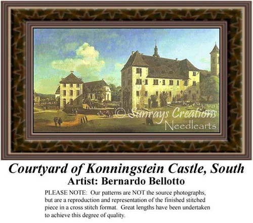 Courtyard of Konningstein Castle, South, Architecture Counted Cross Stitch Pattern, Fine Art Counted Cross Stitch Pattern