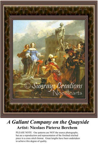 A Gallant Company on the Quayside, Fine Art Counted Cross Stitch Pattern