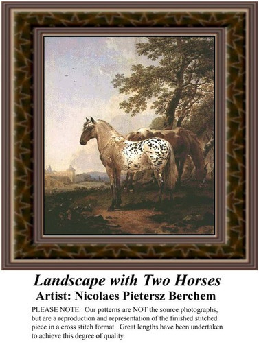Landscape with Two Horses, Fine Art Counted Cross Stitch Pattern, Alluring Landscapes Counted Cross Stitch Pattern