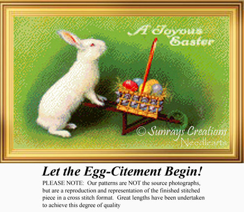 Let the Egg-Citement Begin, Vintage Counted Cross Stitch Pattern