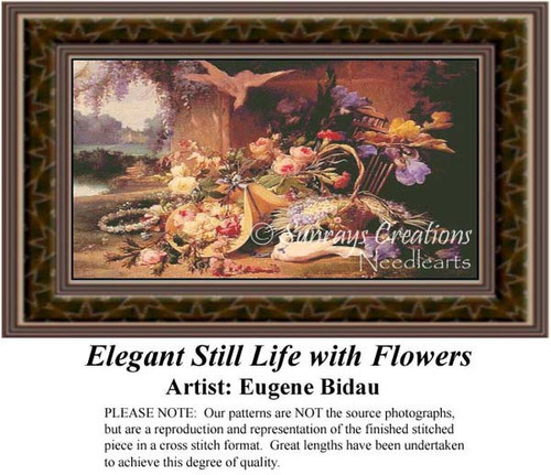 Elegant Still Life with Flowers, Fine Art Counted Cross Stitch Pattern