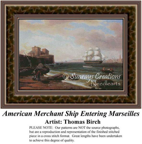 American Merchant Ship Entering Marseilles, Waterscapes Counted Cross Stitch Pattern, Fine Art Counted Cross Stitch Pattern