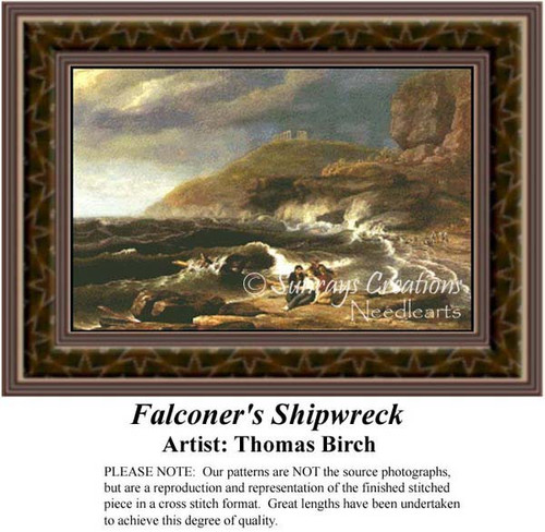 Falconer's Shipwreck, Fine Art Counted Cross Stitch Pattern, Alluring Landscapes Counted Cross Stitch Pattern