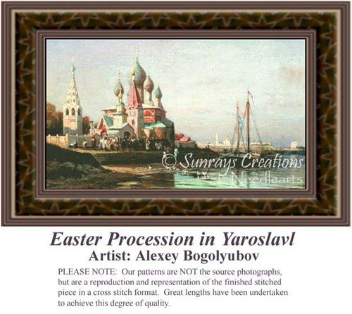 Easter Procession in Yaroslavl, Fine Art Counted Cross Stitch Pattern