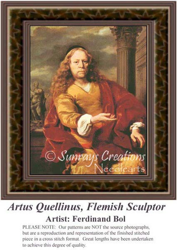 Artus Quellinus, Flemish Sculptor, Fine Art Counted Cross Stitch Pattern, Men Counted Cross Stitch Pattern