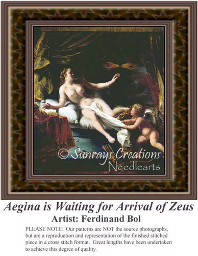 Aegina is Waiting for Arrival of Zeus, Fine Art Counted Cross Stitch Pattern, Women Counted Cross Stitch Pattern