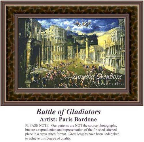 Battle of Gladiators, Famous Battles Counted Cross Stitch Pattern, Fine Art Counted Cross Stitch Pattern