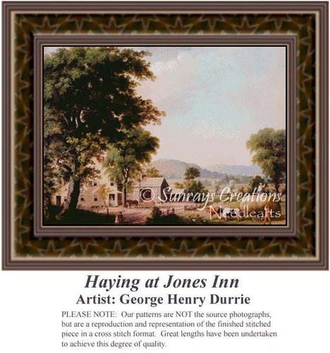 Haying at Jones Inn, Fine Art Counted Cross Stitch Pattern