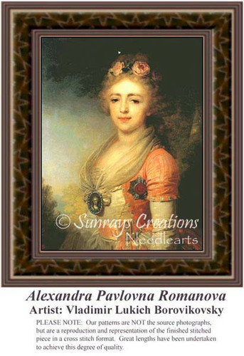 Alexandra Pavlovna Romanova, Fine Art Counted Cross Stitch Pattern, Women Counted Cross Stitch Pattern