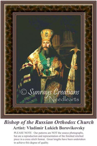 Bishop of the Russian Orthodox Church, Fine Art Counted Cross Stitch Pattern, Men Counted Cross Stitch Pattern