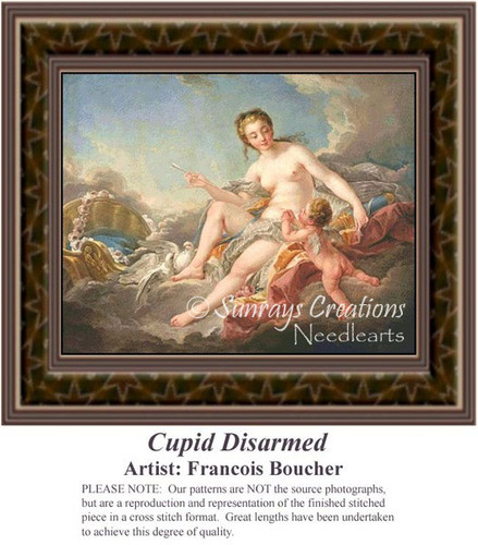 Cupid Disarmed, Fine Art Counted Cross Stitch Pattern