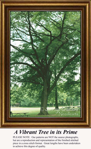 A Vibrant Tree in its Prime, Trees Counted Cross Stitch Pattern