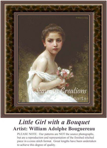 Little Girl with a Bouquet, Fine Art Counted Cross Stitch Pattern, Children Counted Cross Stitch Patterns