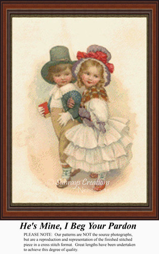 He's Mine I Beg Your Pardon, Vintage Counted Cross Stitch Pattern