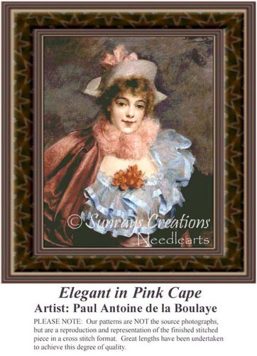 Elegant in Pink Cape, Fine Art Counted Cross Stitch Pattern, Women Counted Cross Stitch Pattern