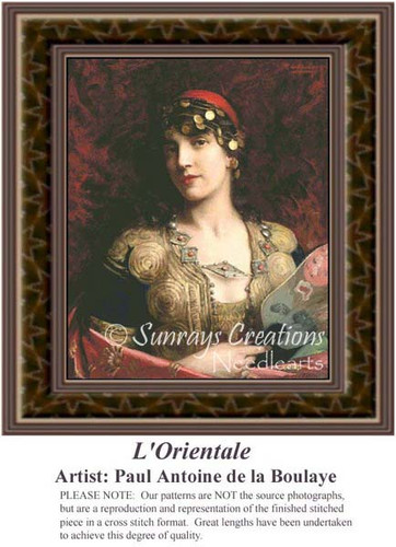 L Orientale, Fine Art Counted Cross Stitch Pattern, Women Counted Cross Stitch Pattern