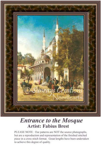 Entrance to the Mosque, Architecture Counted Cross Stitch Pattern, Fine Art Counted Cross Stitch Pattern