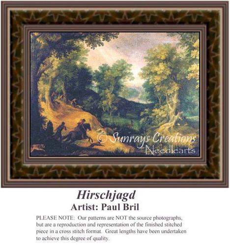 Hirschjagd, Fine Art Counted Cross Stitch Pattern, Alluring Landscapes Counted Cross Stitch Patterns
