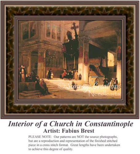 Interior of a Church in Constantinople, Interiors Counted Cross Stitch Patterns, Fine Art Counted Cross Stitch Pattern