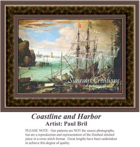 Coastline and Harbor, Fine Art Counted Cross Stitch Pattern, Waterscapes Cross Stitch Patterns