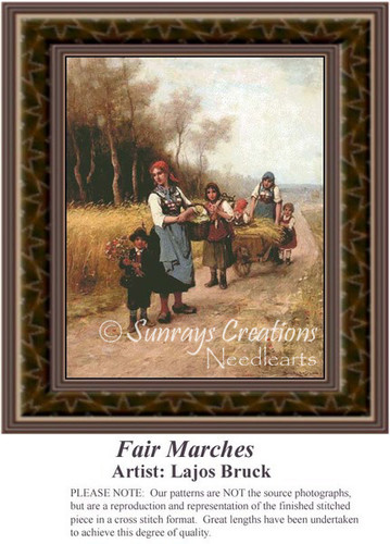 Fair Marches, Fine Art Counted Cross Stitch Pattern, Family Counted Cross Stitch Pattern