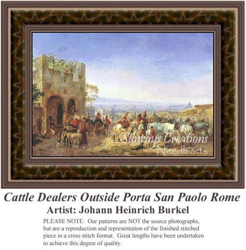 Cattle Dealers Outside Porta San Paolo Rome, Fine Art Counted Cross Stitch Pattern, Social Counted Cross Stitch Pattern