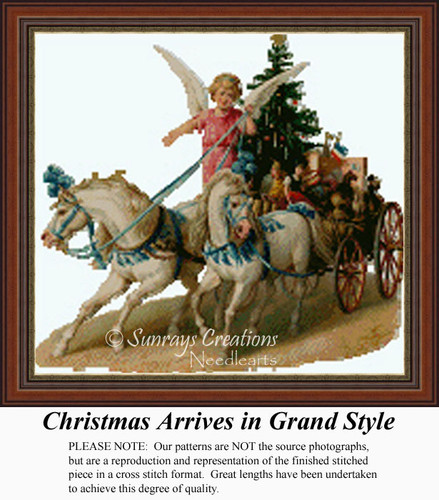 Christmas Arrives in Grand Style, Vintage Counted Cross Stitch Pattern