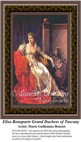 Elisa Bonaparte Grand Duchess of Tuscany, Fine Art Counted Cross Stitch Pattern