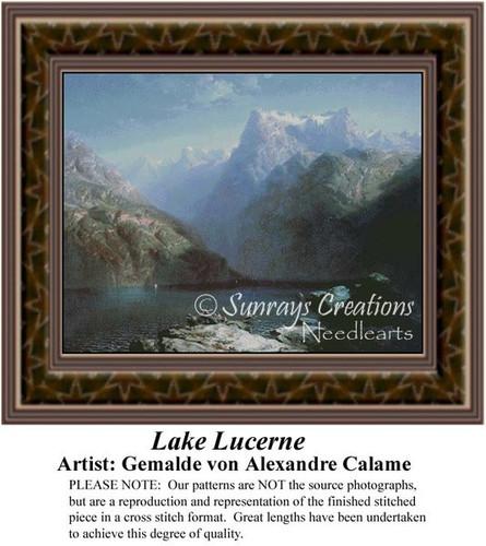 Lake Lucerne, Fine Art Counted Cross Stitch Pattern, Alluring Landscapes Counted Cross Stitch Pattern